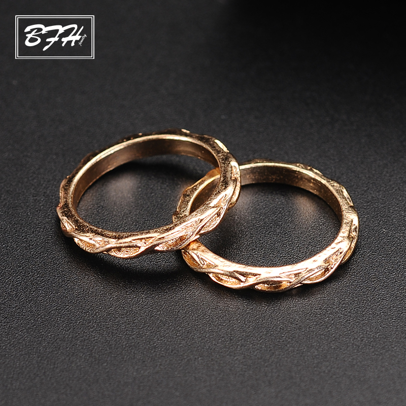 BFH Fashion Elegant Charm Mini Gold Finger Ring for Women Men Girl Party Wedding 12Pcs/1Sets Bohemia Knuckles Ring Jewelry Gift