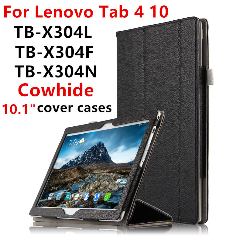 Case Cowhide For Lenovo Tab4 TAB 4 10 Smart Protective cover Genuine Leather tab4TB X304L TB