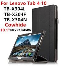 """Caso de cuero de Vaca Para Lenovo TAB Tab4 4 10 Smart cubierta Protectora del Cuero Genuino tab4TB-X304L TB-X304N F 10.1 """"Tablet PC casos Cubierta"""