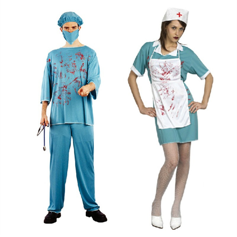 Scary doctor nurse costume with false blood for halloween adult party men women professi ...