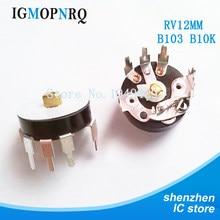 10 PÇS/LOTE Reta Ângulo Potenciômetro Rádio RV12MM B103 B10K Volume de Amplificador de Potência Potenciômetro Com Interruptor