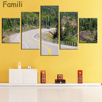 Canvas Wall Art Poster Home Decor Living Room 5 Pieces European Sunset Highway Cityscape Paintings HD