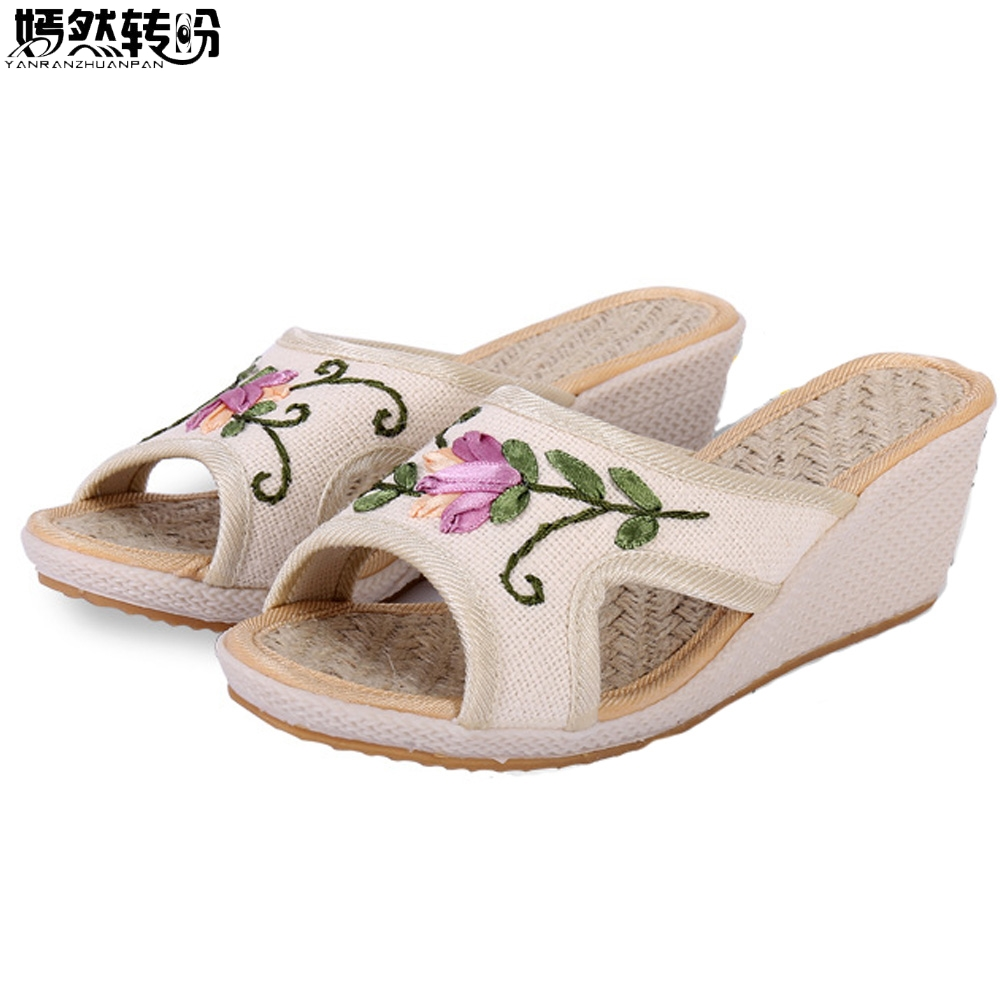 Chinese Women Slippers Peep-Toe Floral Embroidery Summer Linen Shoes Woman Wedges Flip Flops Flowers High Heel Chanclas Mujer floral patch detail peep toe sliders