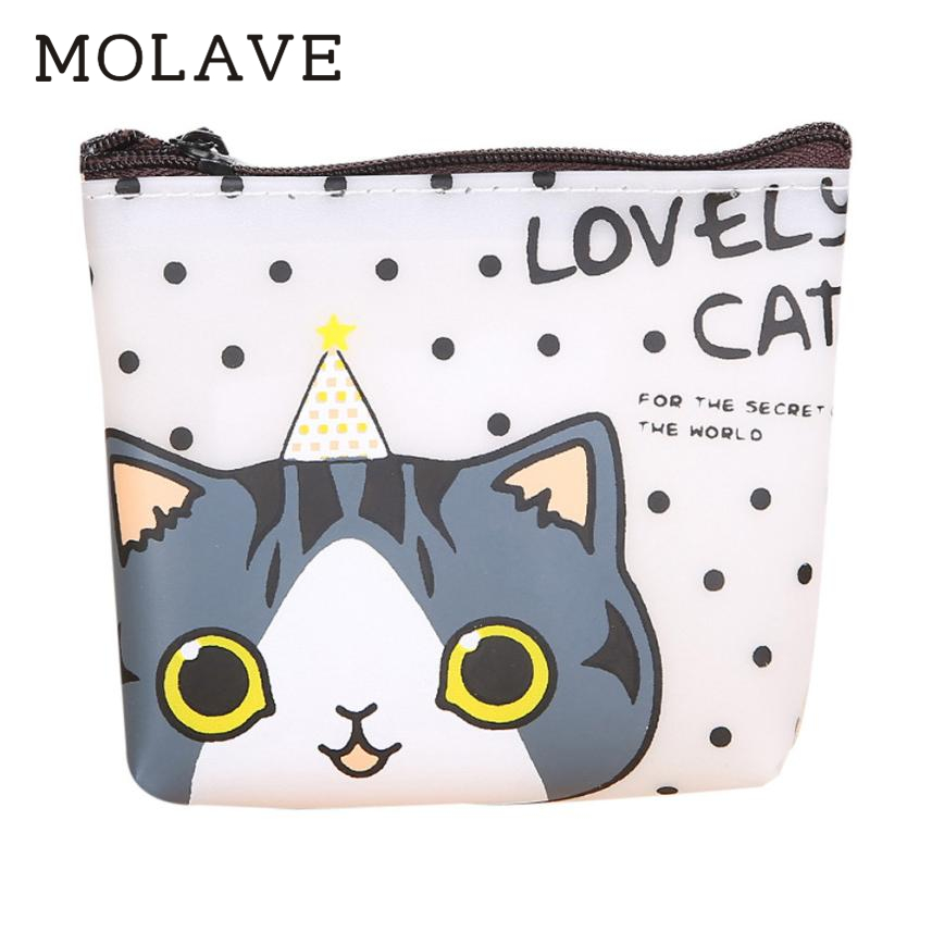 MOLAVE wallets wallet female Solid coin purse zipper Women Girls Cute Cat Fashion Coin Purse Bag Change Pouch Key Holder Jan16 стоимость