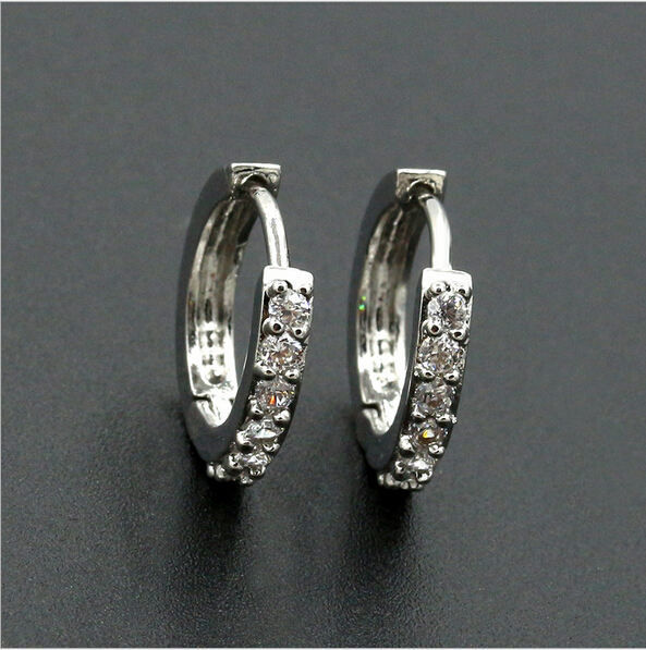 New Silver Round Earrings Special Jewelry Rhinestones Hoop For Women S Earring Rings