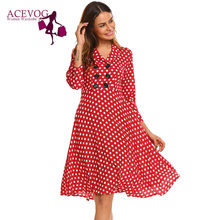 5095bbe8f8dc ACEVOG Vintage Dress Women Autumn 50s 60s Elegant Polka Dot V-Neck 3/4  Sleeve Button Ruffles A-Line Party Dresses Vestidos Robe