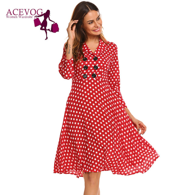 ACEVOG Vintage Dress Women Autumn 50s 60s Elegant Polka Dot V-Neck 3 4  Sleeve Button Ruffles A-Line Party Dresses Vestidos Robe a2a85cef0