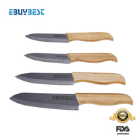 Four Piece Set Kitchen Knives Environmental Bamboo Handle Ceramic Knife Set 3 4 5 6 Inch