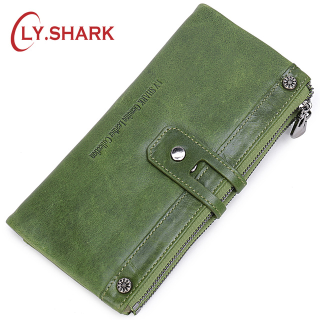 LY.SHARK Genuine Leather Wallet Women Coin Purse Lady Wallet Female Credit Card Holder Clutch Bag Money Long Wallet Phone Green contact s women wallets genuine leather wallet female coin purse women wallet long clutch coin card holder phone money red green