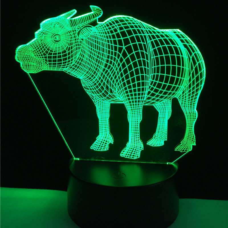 Acrylic 7 Color Changing buffalo 3D LED nightlight of bedroom lamp livingroom lights desk table Decor Night Light Kid Gift