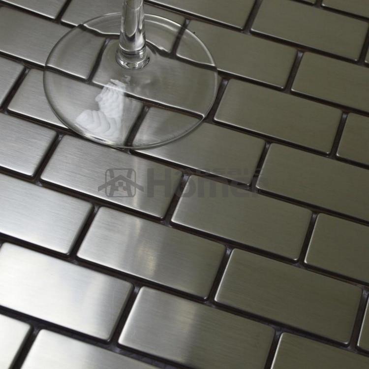 Silver Drawbench Stainless Steel Mosaic Tiles Brick Wall Backsplash 12x12 Hme8019 Kitchen Backsplash Home Decor