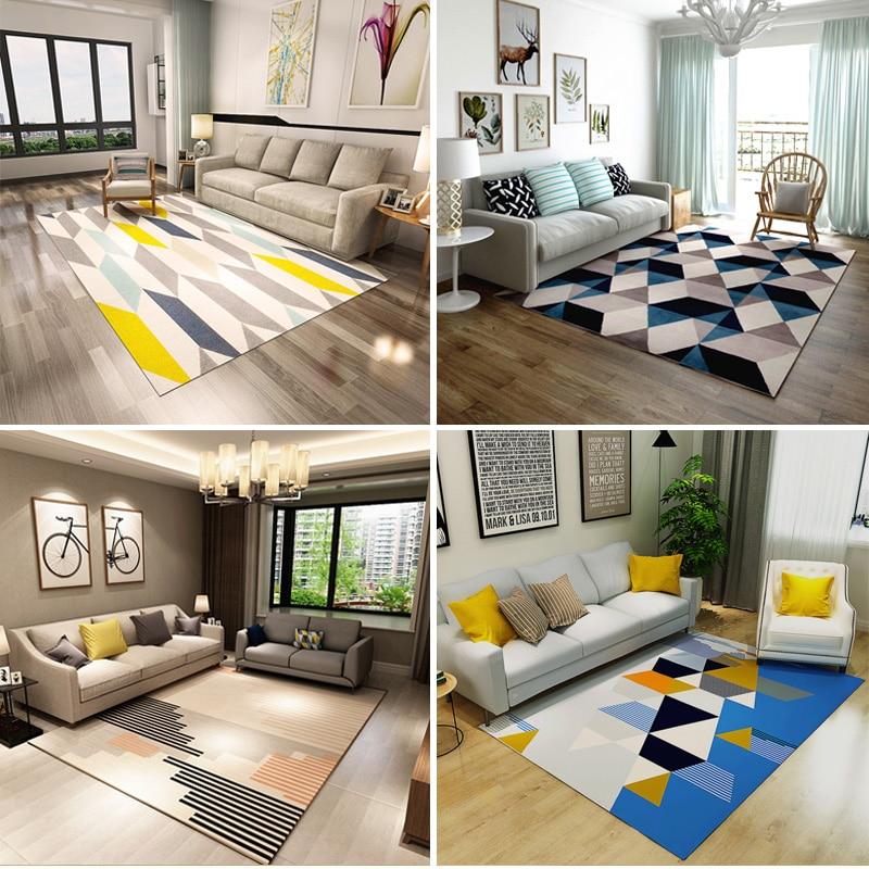 Nordique INS style tapis moderne salon tapis chambre table basse noir et blanc tapis personnalité géométrique tapis de sol CL328 - 4