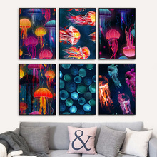 Watercolor Jellyfish Nordic Posters And Prints Wall Art Canvas Painting Animal Pictures For Living Room Bedroom Home Decor