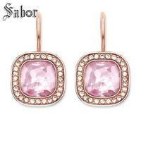 Rose Gold Color Square Crystal Swan Neck Drop Earrings 2019 New Jewelry Romantic 925 Sterling Silver Gift For Women thomas