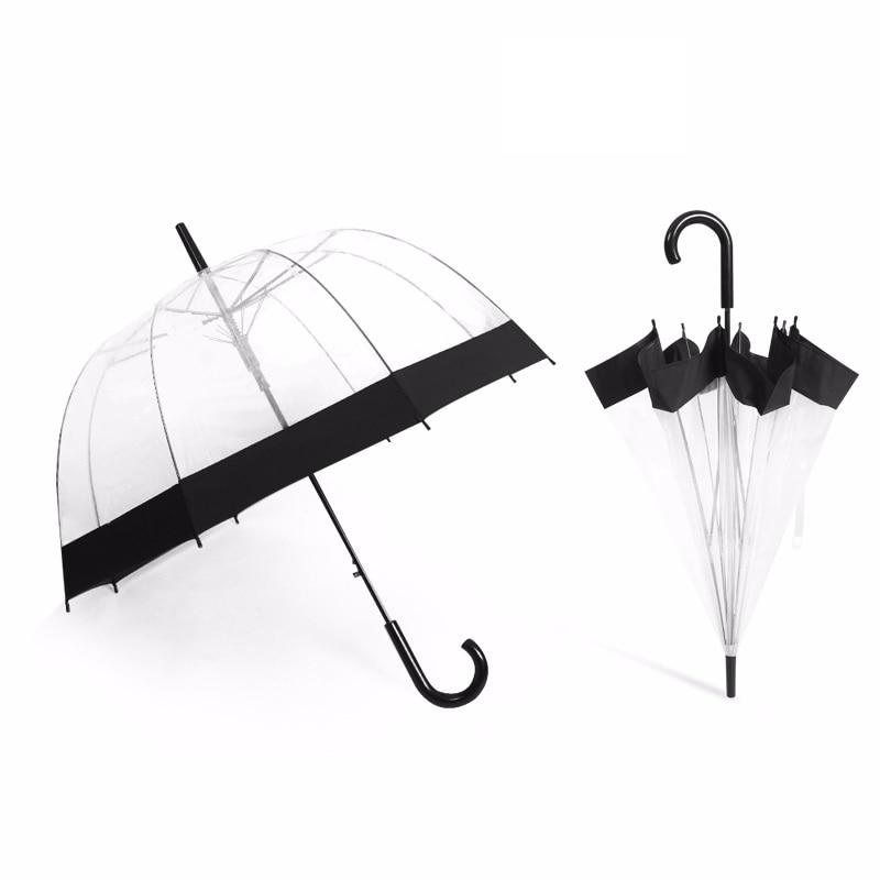 Plastic EVA Transparent Umbrella Creative Rain Sunny Women Girls Ladies Novelty Items Long Handle Umbrellas Rainproof Unbrellas