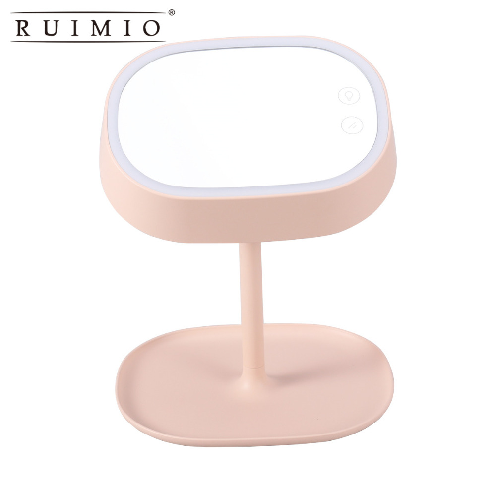 Rechargeable Touch Screen Lighted Makeup Mirror LED Lamp Table Stand Cosmetic Mirror Night Light