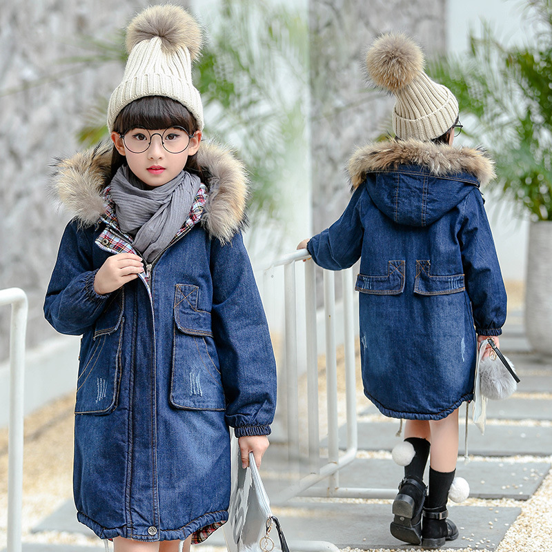 girls winter jackets and coats 2018 new kids winter jacets hooded denim coat thicken warm cotton padded jackets for girls 5-11T цены онлайн