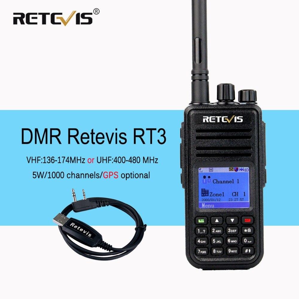 DMR Radio Retevis RT3 Numérique Talkie Walkie VHF (ou UHF) 5 w (GPS) VOX Crypté Deux Way Radio Ham Radio Amador Émetteur-Récepteur + Câble