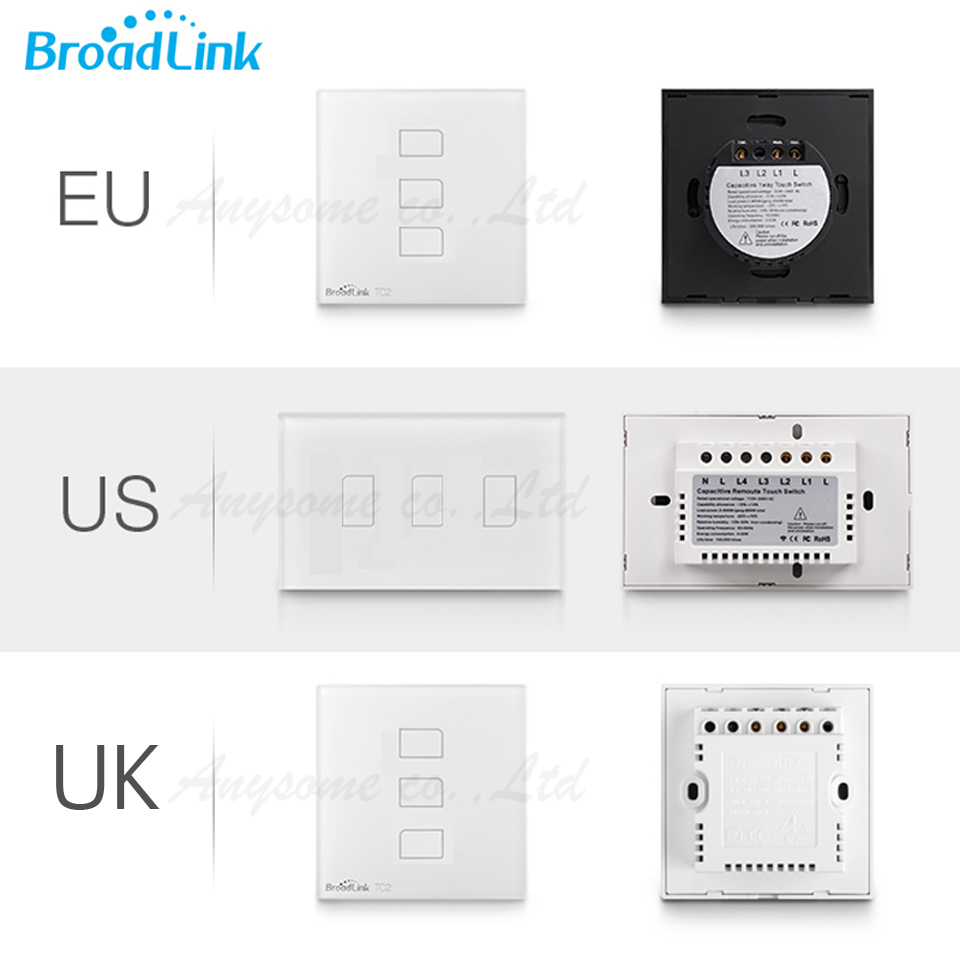 EU US UK Orginal Broadlink 3 gang TC2,smart Homes