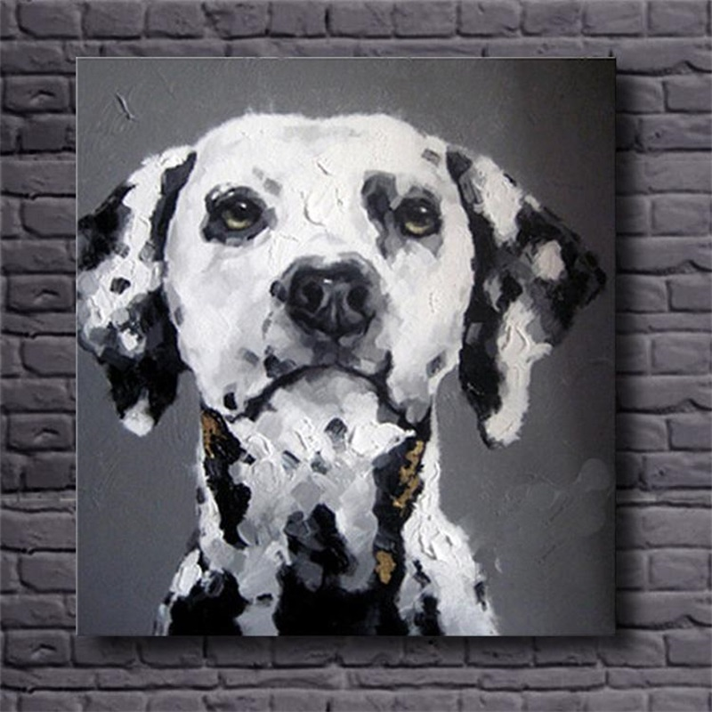 hand painted wall art black white abstract oil paintings dog decorative pictures modern animal canvas paintings for kidu0027s roomin painting u0026 calligraphy