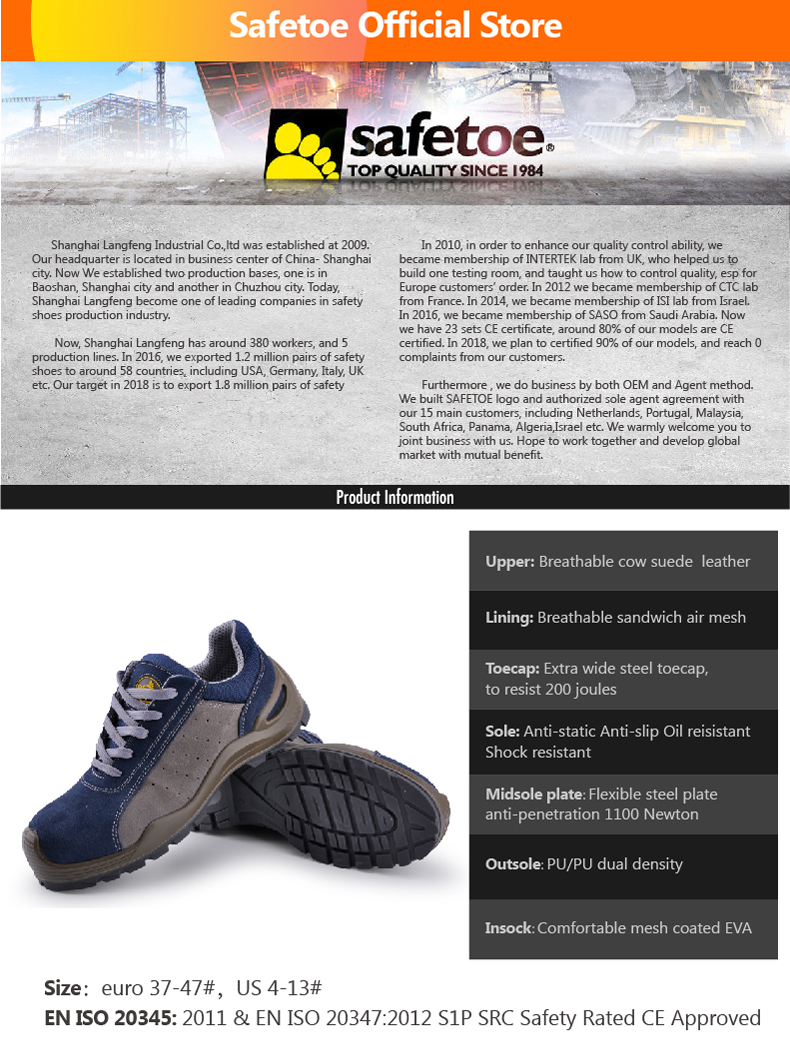 UK Safetoe Mens Safety Shoes Work Boots Trainers Cow Leather Steel Toe Size 6-12