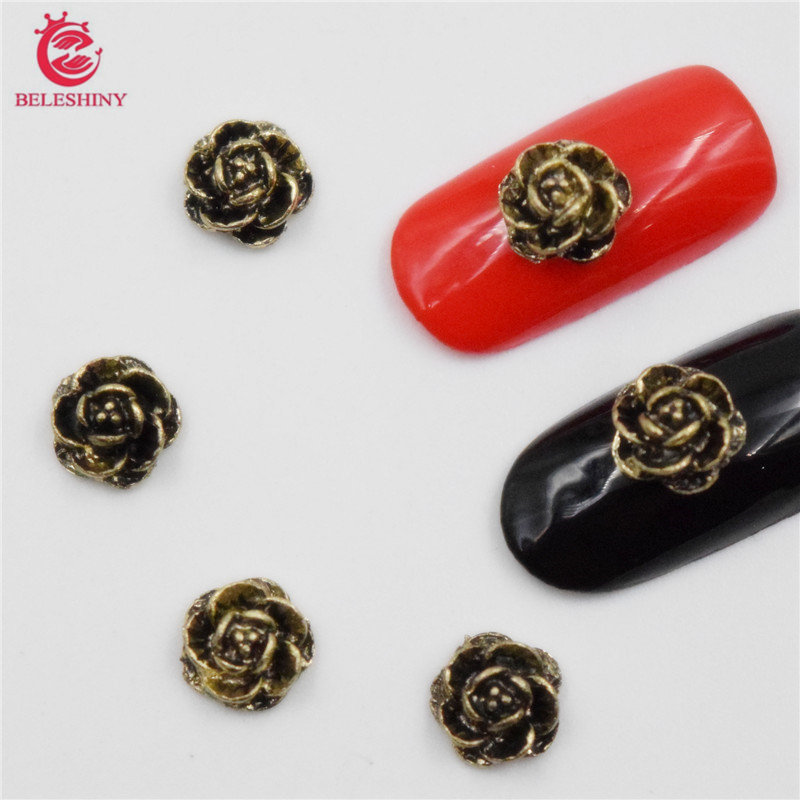 Beleshiny 50Pcs new Bronze flowers, 3D Metal Alloy Nail Art Decoration/Charms/Studs,Nails 3d Jewelry nail supplies H093 allen roth brinkley handsome oil rubbed bronze metal toothbrush holder