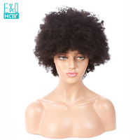 E&Q 150% Density Brazilian Human Remy Hair Wig With Cilps Afro Kinky Curly Short Lace Wigs For Women 8 16Inch Natural Color