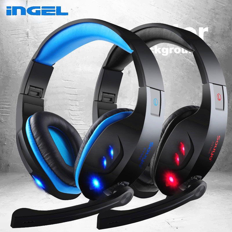 Original INGEL 968 Computer Gaming Headset Game Headphones with Mic LED Light Over-ear Earphones For PC Gamer Freeshipping led bass hd gaming headset mic stereo computer gamer over ear headband headphone noise cancelling with microphone for pc game