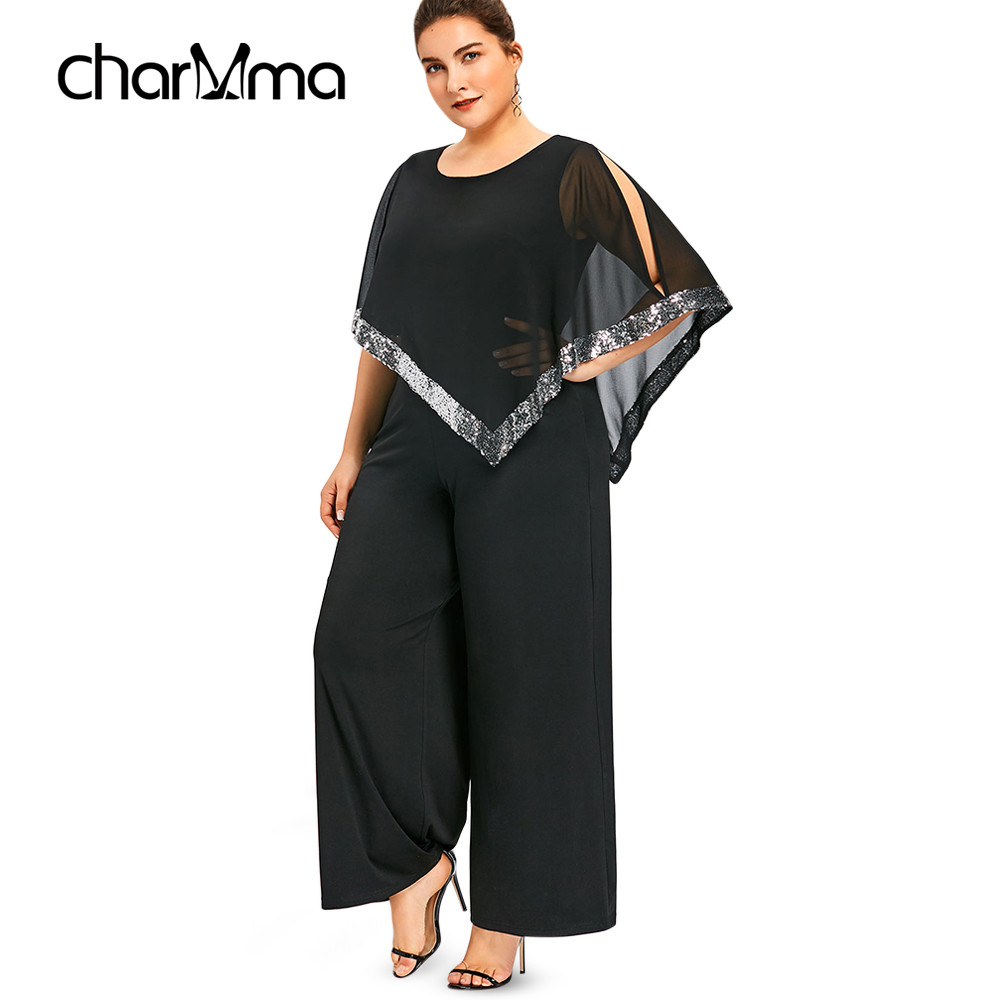 Miss Plus Size 5XL Wide Leg Long Pants   Jumpsuit   Romper 2019 spring Office Ladies Work Wear Sequin Overlay Chiffon Party Overalls