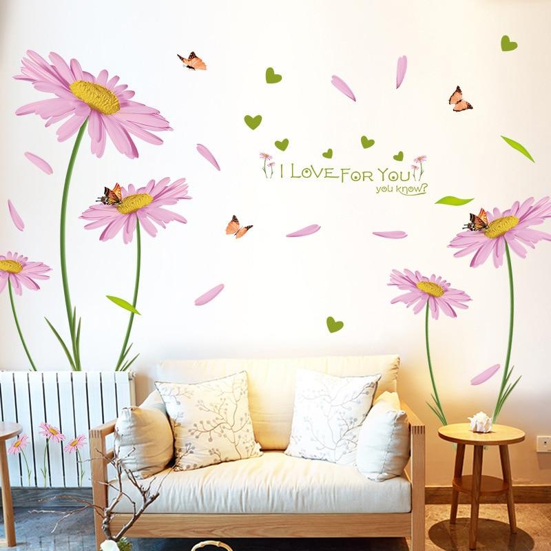 Adesivi Murali Low Cost.Romantic Pink Daisy Flower Stickers 3d Wall Stickers Bedroom Decor Living Rooms Wallstickers Diy Mural Art Adesivi Murali Xn169