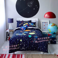 Free shipping universe/space rocket bedding set kids children cartoon seven planets patchwork applique embroidery home textile
