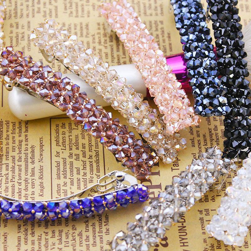 Four row crystal clip hair, free home delivery han edition hair pearl four petals small clip hairpin edge clip a word free home delivery