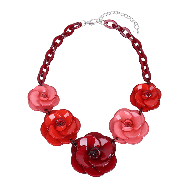 2018 New Fashion Acrylic Jewelry Women Retro Necklace Big Acrylic Rose Flowers Ornaments Necklace For Femme New Years Gift
