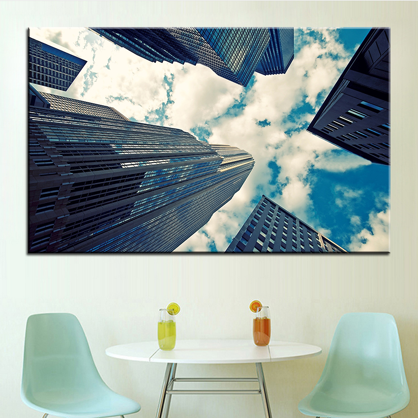 Large size Printing Oil Painting skyscrapers and couds Wall painting Decor Wall Art Picture For Living Room painting No Frame