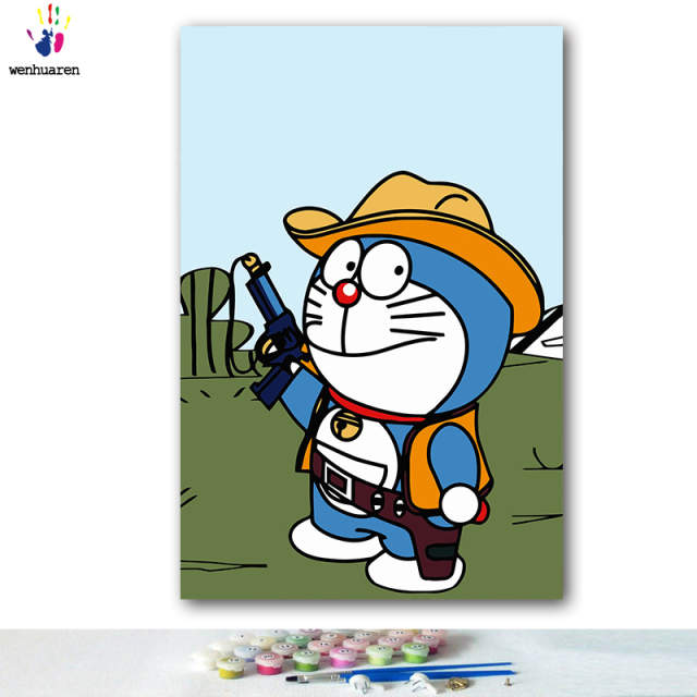 DIY colorings pictures by numbers with colors Doraemon Tinker Bell Big bear  picture drawing painting by numbers framed Home