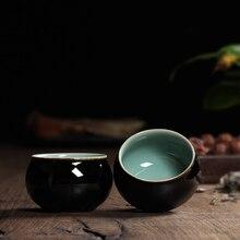 2 STÜCKE Chinesischen Longquan Celadon Porzellan teetasse SaucerTea Schüssel teekanne Schwarz Glasur 85 ml Chinesische teetasse Topf Celadon teetassen