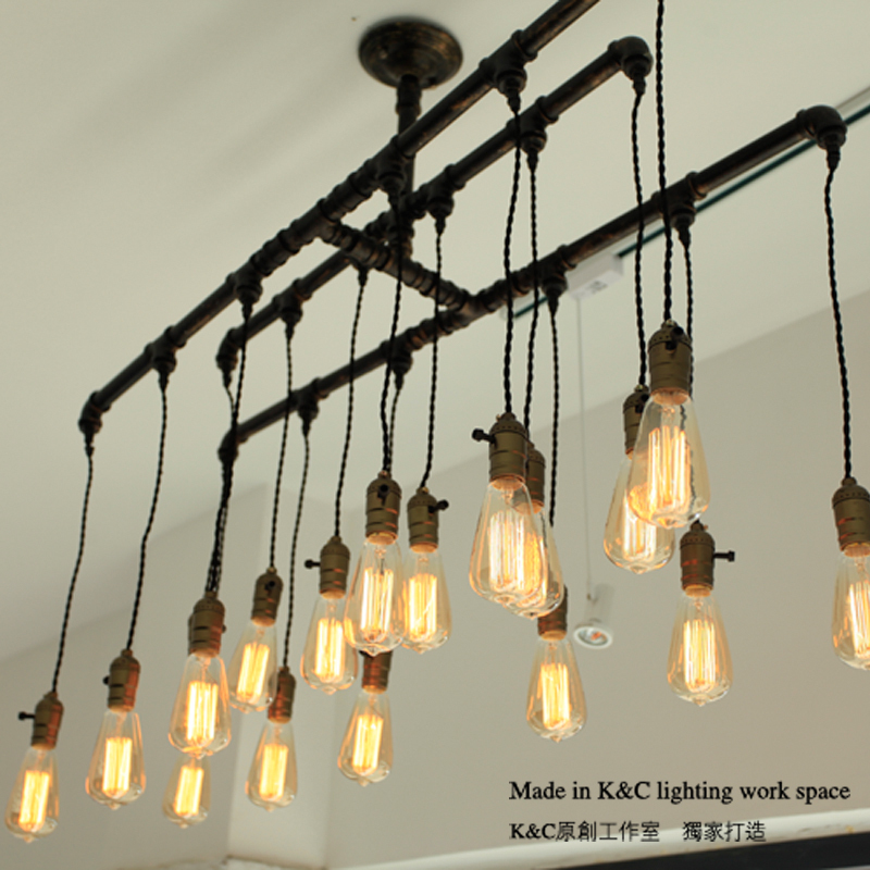 Kc Loft Style Chandelier Lighting E27 Edison Steampunk Retro Silk Pipes