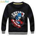 Jiuhehall otoño invierno más el terciopelo jersey para niños super hero hooide muchachos de la manga larga de algodón de los niños tops icm020