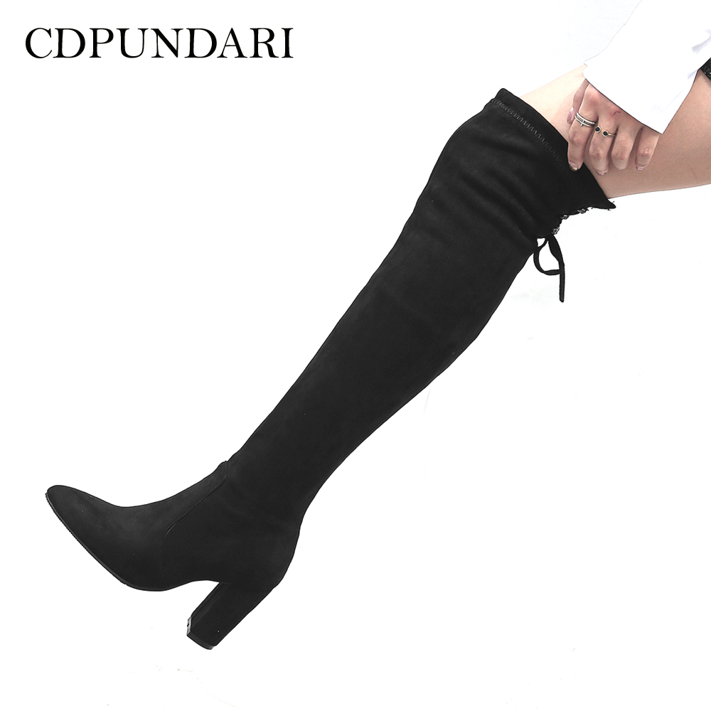 CDPUNDARI Lace Up Stretch Fabric over the knee boots women thigh high boots Ladies Winter boots shoes woman Black Gray women boots low heel knee high boots stretch fabric thigh high over the knee black boot ladies shoes d50