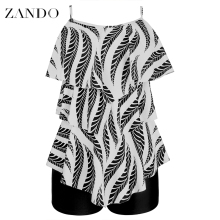 Zando Plus Size Two Piece Swimsuit Leaf Printed Swimwear Women Ruffle Tankini Push Up Shorts Bathing Suit 2XL Beach Pad