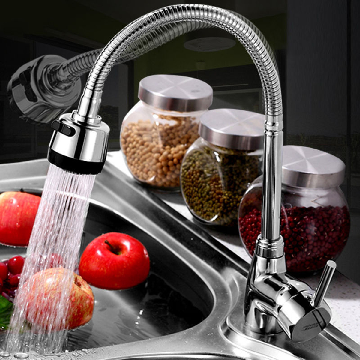 Kitchen 360Degree Rotatable Pull Down Spray Mixer Tap Spout Single Handle Sink Basin Faucet Adjustable Solid Brass Deck Mounted