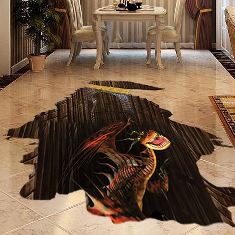 Latest 48D Dinosaur Sticker On Ground Creative Decal Sticker On The Stunning 3D Home Interior Design Online Creative