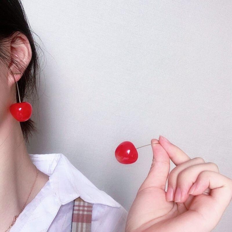 Neatear 2019 Earrings Women Girls Resin Cute Round Dangle Red Cherry Fruit Earrings Jewelry Gift Instagram Internet celebrity in Drop Earrings from Jewelry Accessories