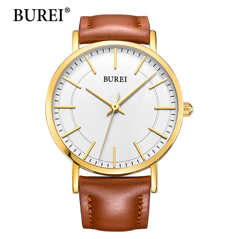 BUREI Women Watch Top Fashion Brand Female Waterproof Watches Large Lens Real Leather Strap Business Wristwatches