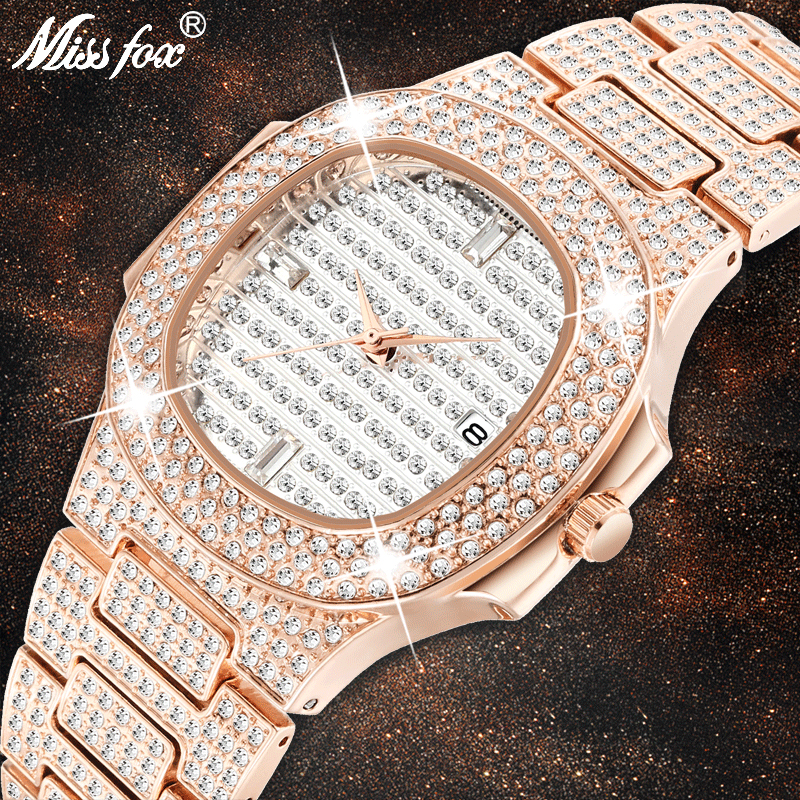 Dropshipping 2020 Luxury Watch Men Patek Rose Gold Watch Analog Waterproof Quartz Clock Calendar Business Diamond Iced Out Watch