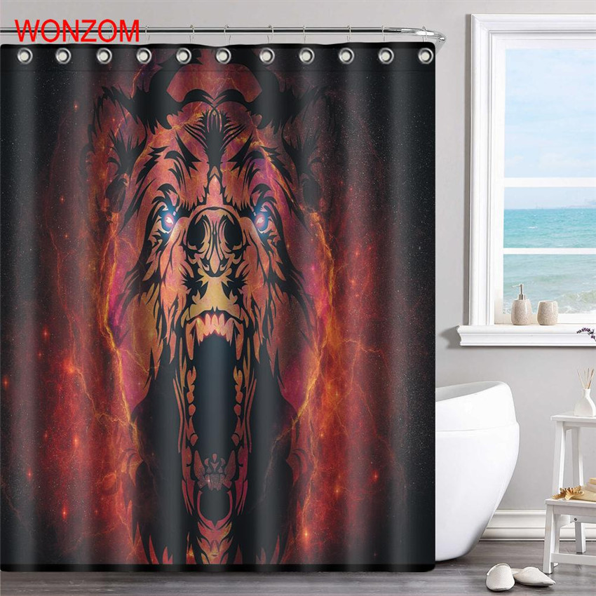 WONZOM Howling Bear Polyester Panda Fabric Shower Curtain Bathroom Decor Waterproof Animal Cortina De Bano With 12 Hooks 2017