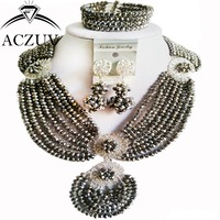 Brand ACZUV 18inches Handmade Women Bridal African Beads Jewelry Sets Silver Crystal AN048