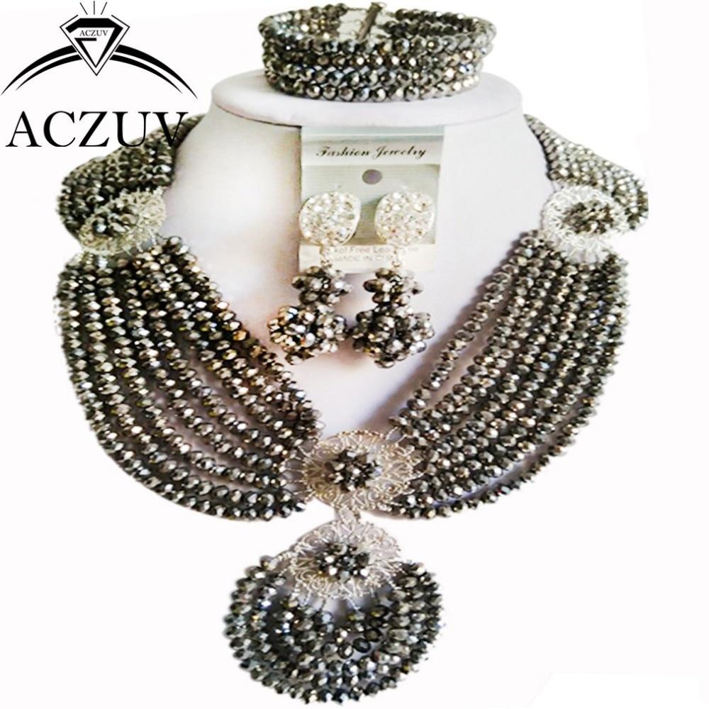 Marque ACZUV 18 pouces à la main femmes de mariée perles africaines ensembles de bijoux en cristal d'argent AN048