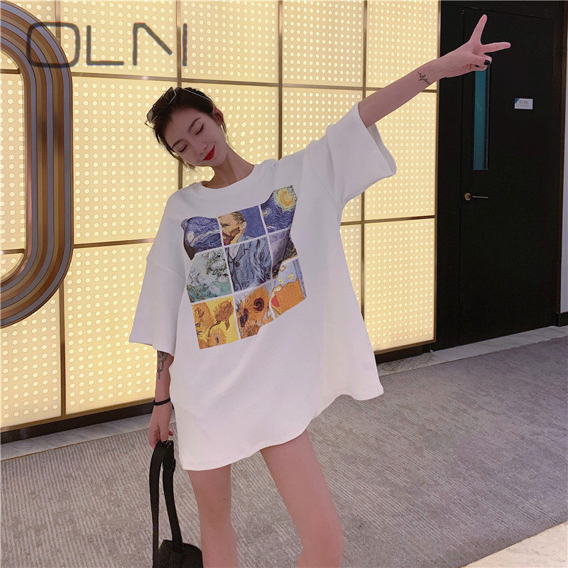 2019 Hong Kong Style New Wide Comfortable Thickening Wild Sanding Fashion Round Neck Long T-shirt