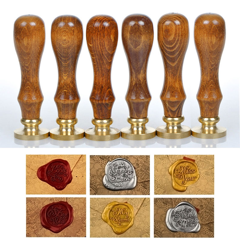 Classic Sealing Wax  Wood Scrapbooking Stamp Initial Wax Seal Stamp Alphabet Letter Retro  LS